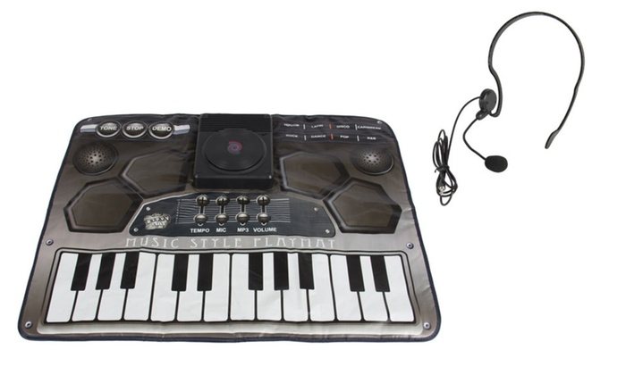 Dj Style Keyboard Piano Playmat with Microphone for Kids
