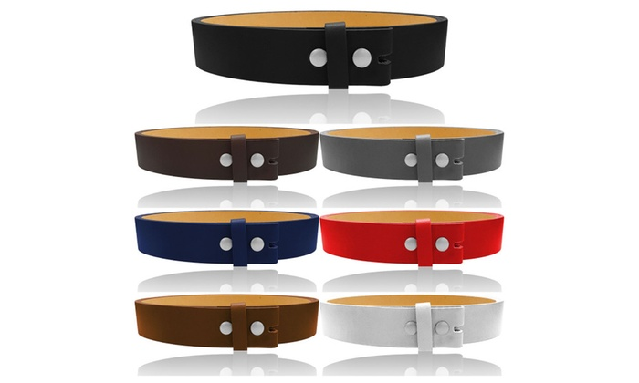 """Women and Men's 1.5"""" Wide Genuine Stitched Leather Belt Straps"""