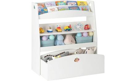 Kids Toy Storage Bookshelf, Children's Organizer Cabinet for Playroom, White