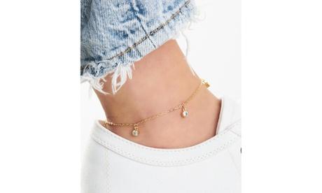 18k Gold Plating Hanging Crystal Anklet