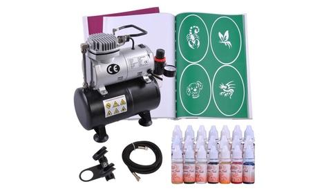 Airbrush Air Compressor Kit 21Ink w/Stencil Book Hose Tattoo Set 2d0ce83a-21f4-4f46-b9f5-f6e3bf67953b