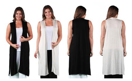 24/7 Comfort Apparel Women's Sleeveless Long Shrug