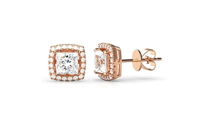 18k Rose Gold Over Sterling Silver Square Crystal Halo Stud Earrings