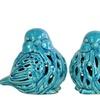 Ceramic Bird Figurine with Cutout Design Assortment of Two