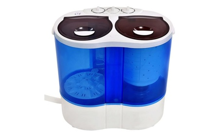 Portable Mini Washing Machine Compact Twin Tub Washer Spin Spinner 15 lbs photo