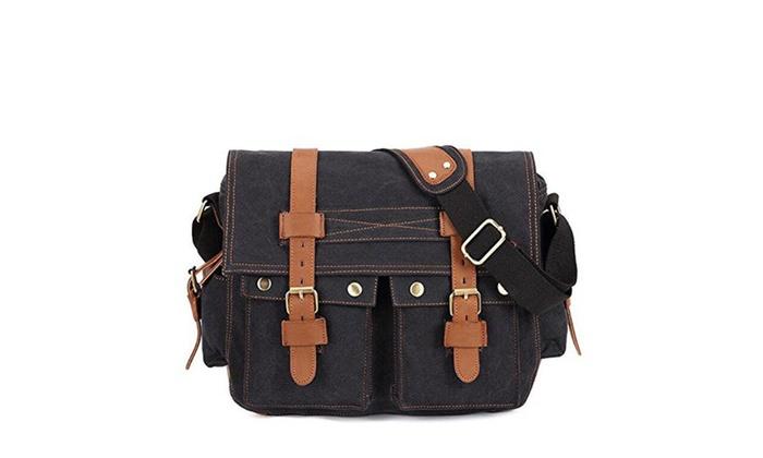 Kaukko Canvas Bag Messenger Bag Shoulder Bag Fit 14″ Laptop