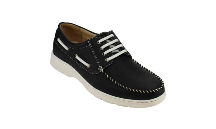 Beston AD11 Men's Moccasin Four Eyes Lace Up Flat Heel Boat Oxfords