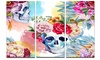 Ethnic Skull with Flowers Floral Metal Wall Art 36x28 3 Panels