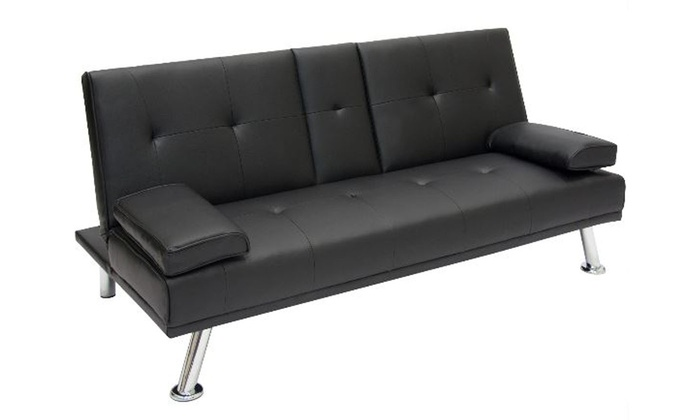Magnificent Up To 61 Off On Futon Sofa Bed Modern Faux Le Groupon Short Links Chair Design For Home Short Linksinfo