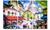 Sacre Coeur and Montmartre Cityscape Metal Wall Art 36x28 3 Panels
