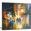 Couple Walking in an Alley Cityscape Metal Wall Art 28x12