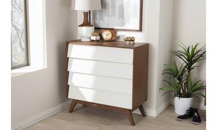 Hildon White and Walnut Wood Storage Chest or Dresser