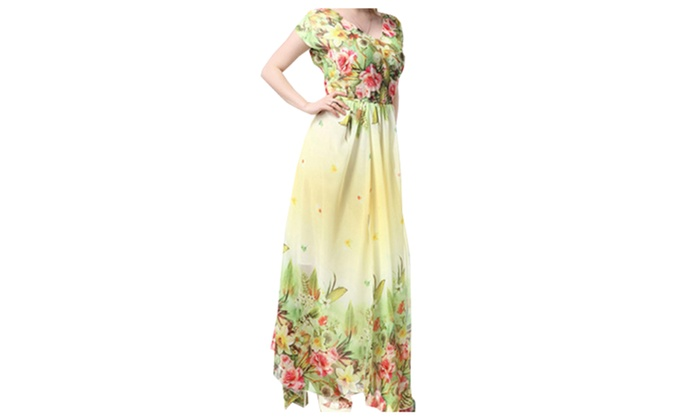 f93d3ddb8a0 Women Printed Decorated Bust Long Pleated Plus Size Dress - KMWD396 ...