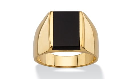 Men's Emerald-Cut Genuine Black Onyx Classic Ring 14k Gold-Plated 53ccae22-6d6b-4a40-ad1e-2110f828ef2f