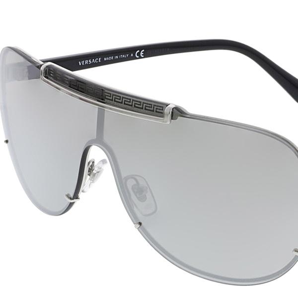 22874d3a2c Versace Men s Mirrored VE2140-10006G-40 Silver Shield Sunglasses ...