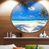 Coconut Palms at Beach' Disc Photo Landscape Circle Metal Wall Art