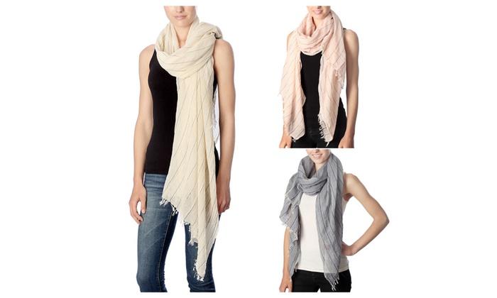 Women's Stripe Line Pattern Design Spring Summer Cotton Scarf