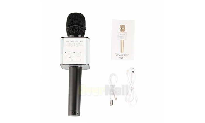 Q9 Bluetooth Wireless Microphone Portable Karaoke Stereo USB Player KTV Black