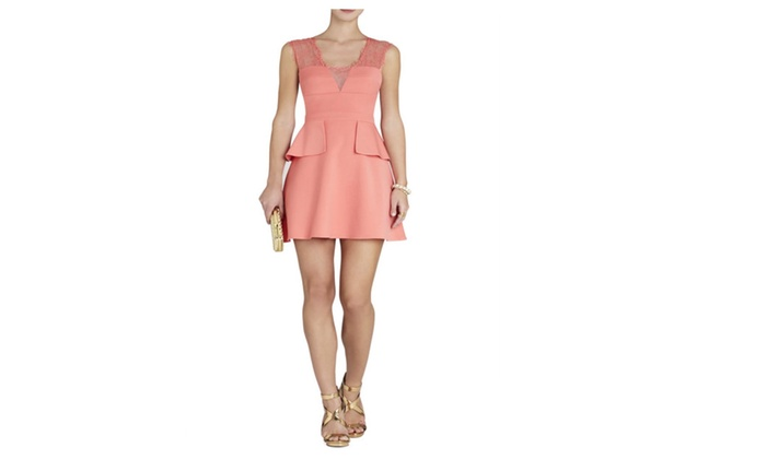 Bcbg maxazria leann lace applique v neck dress pink coral size
