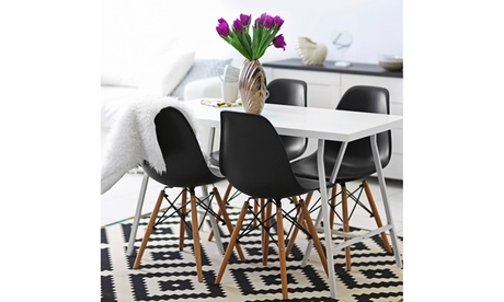Set Of 4 Dining Chairs Mid Century Modern Style Solid Wood Leg Black