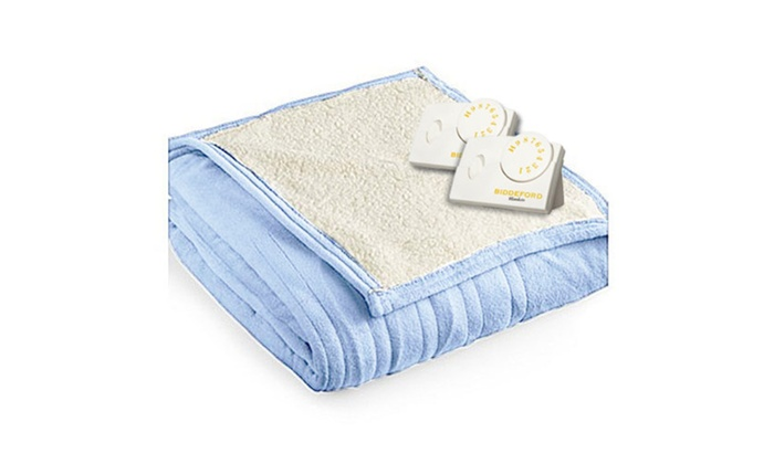 Pure Warmth By Biddeford MicroPlush Sherpa Electric Heated Blanket King  Blue ...