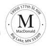 Custom Monogram Circle Return Address Stamp