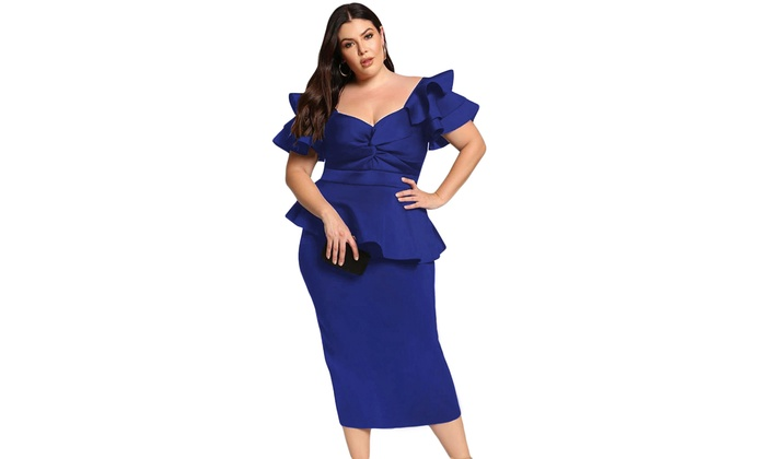 Women\'s Pink/Black/Red/Blue Plus Size Tiered Sleeve Twisted ...