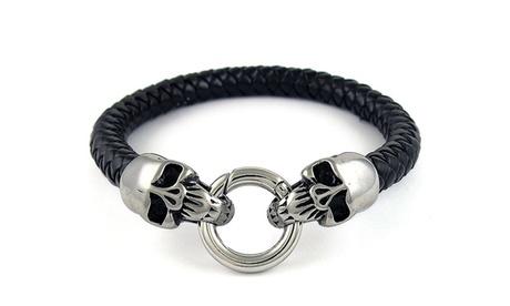 Mens Genuine Leather Wide Braided Leather Bracelet 625ec9cf-94c3-498a-a037-5c2d59656587