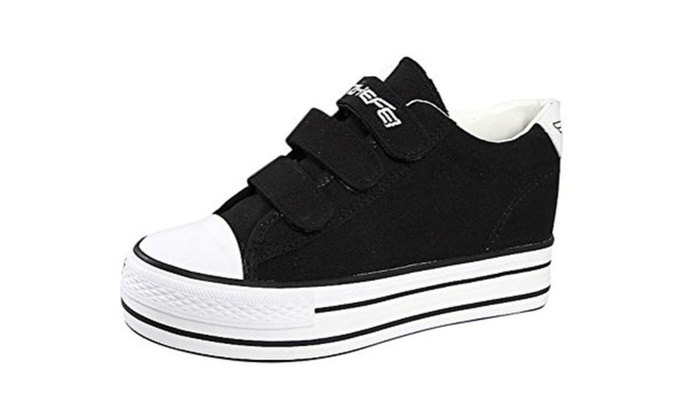 T&Grade Hidden Wedge Sneaker Flats Ankle Velcro Shoes Warm Shoes