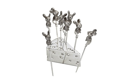 Elegance Set Of 8 Silver Mouse Cheese Picks With Crystal 0388acdd-a661-47c6-903c-d2d32f754774
