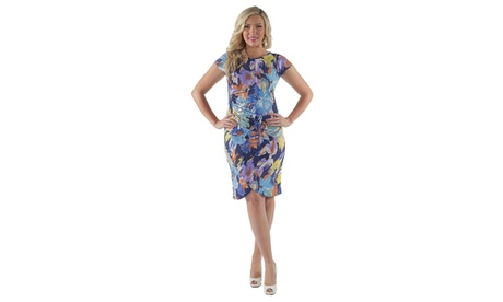 24/7 Comfort Apparel Women's Black & White Floral Dress 8a4ccd6e-e967-49f7-9c82-ed7e3caf328f