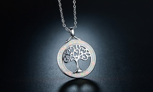 Fire Opal Tree Of Life Necklace By JOJORA