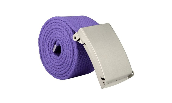 Zodaca Unisex Casual Canvas Belt w Silver Buckle Adjustable Purple