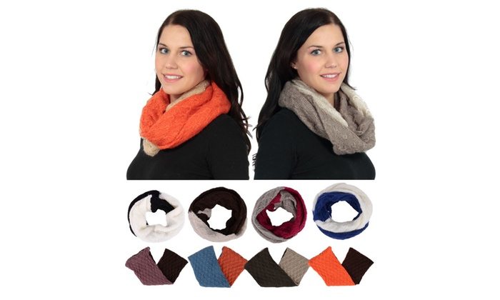 Simplicity Fashion Chunky Two Toned Knitted infinity Loop Scarf