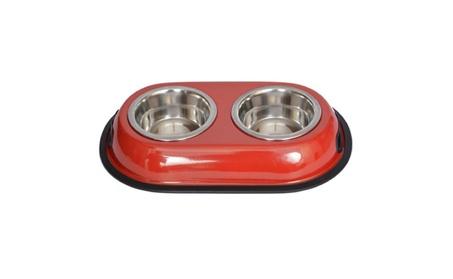Iconic Pet 92033 8 oz. Color Splash Stainless Steel Double Diner - Red f4380def-ce3f-4c16-96bb-a6af2f8406ef