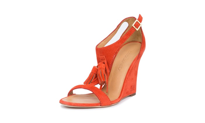 New Dsquared2 Women Orange Genuine  Suede Leather Wedges Shoes Italy
