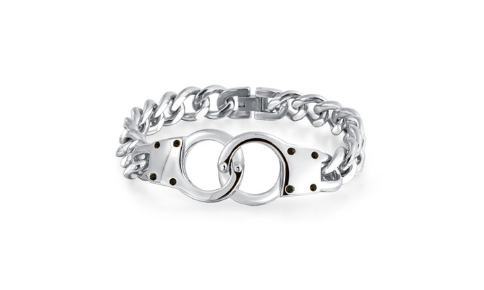 Bling Jewelry Secret Shades Mens Handcuff Bracelet 8 5in Stainless