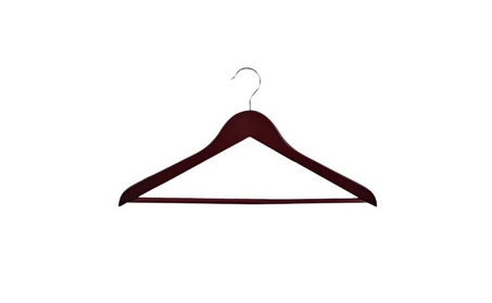 Wooden Concave Suit Hanger With Wooden Bar - Walnut Finish 368a4c91-e3be-4477-9fad-a9be5d726306