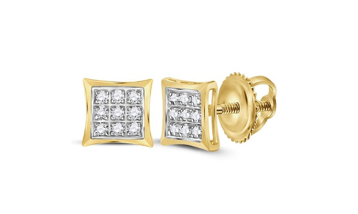 898324d9d 10k Yellow Gold Womens Round Diamond Square Kite Cluster Stud Earrings 1/20  Cttw