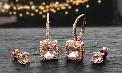 57ec258e0 Shop Groupon Lesa Michele 14K Rose Gold Plated Cubic Zirconia 2-Pc. Earring  Set