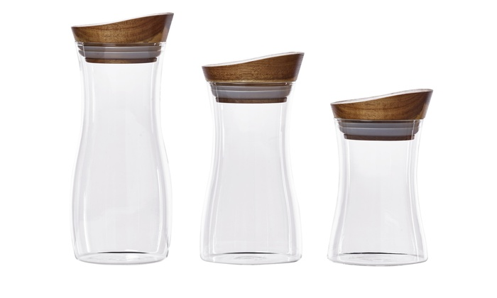 Savora Set Of 3 Glass Canisters With Acacia Wood Lids