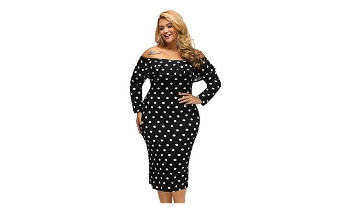 Polka Dot Ruffle Vintage Casual Party Plus Size Bodycon Dress