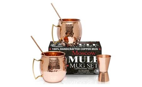 Moscow Mule Copper Mugs Sets (2 & 4) - w/ Bonus Copper Straws & Jigger 59d724f0-f2ef-4ec5-ade5-68c3bdb2cd09