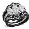 Women's 1.95 Ct Round Cut Cz Black Stainless Steel Wedding Ring Set