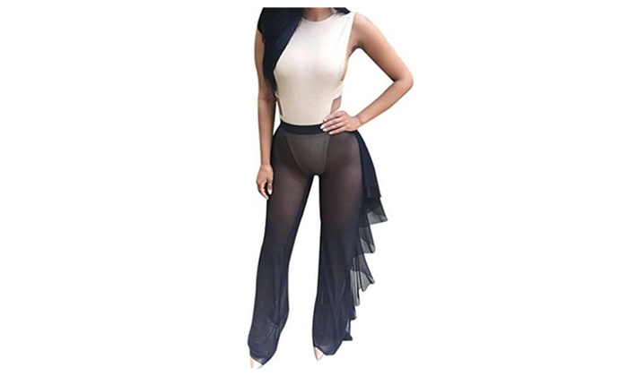 ee10ff6fb2 Women's See Through Sheer Mesh Ruffle Swimsuit Beach Cover Up Pant ...