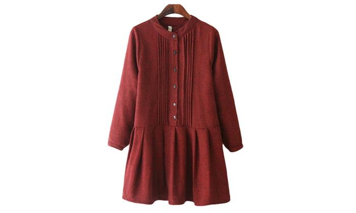 Women's High-Rise Casual BackZipper Blouse Dress