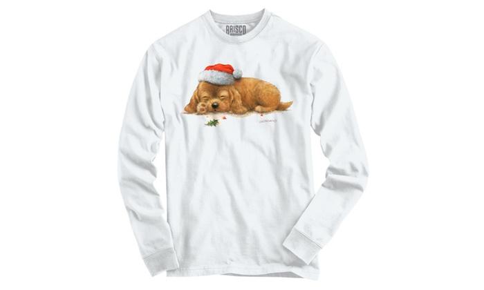 Cuddly Sleeping Christmas Puppy Long Sleeve T-Shirt