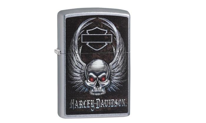 Zippo Harley Davidson Skull Street Chrome Pocket Lighter 29558 ...