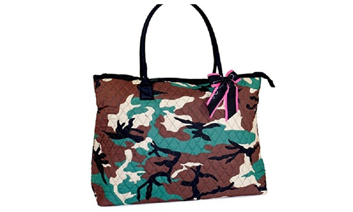 Pink & Green Camo Extra Large Quilted Tote Bag