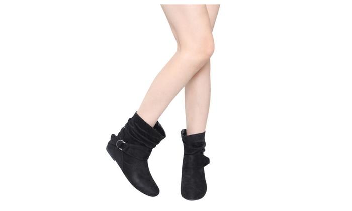 Beston ED65 Women's Side Zipper Buckle Slouchy Flat Ankle Booties